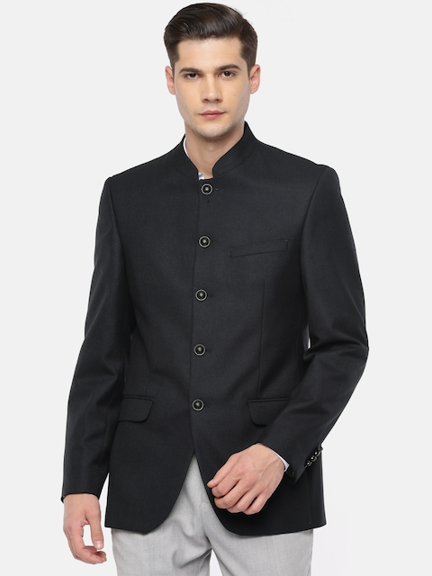 Raymond Navy Blue Solid Contemporary Fit Casual Blazer