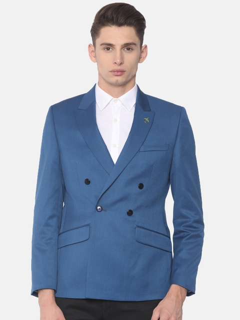 Raymond Blue Solid Slim Fit Double-Breasted Formal Blazer