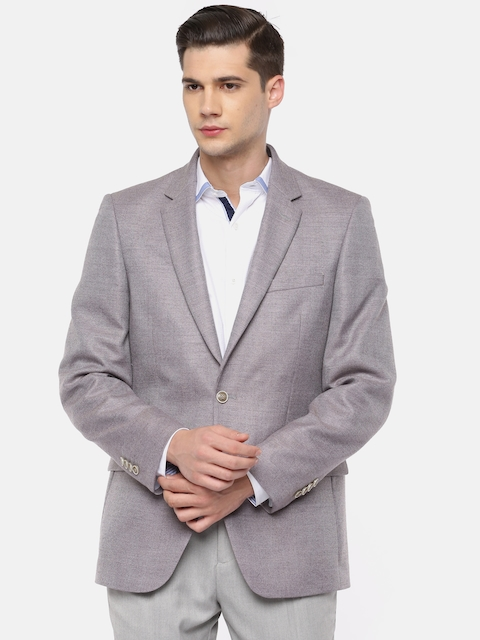 Raymond Grey Contemporary Fit Single-Breasted Woollen Casual Blazer