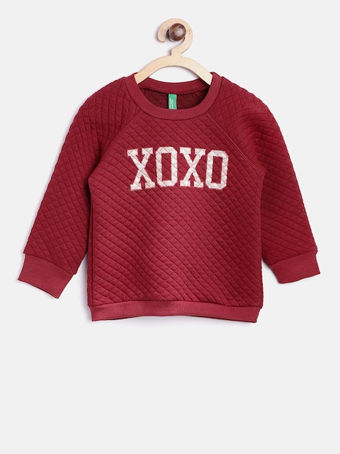 United Colors of Benetton Girls Maroon Quilted Printed Sweatshirt