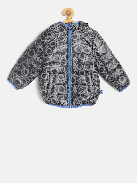 United Colors of Benetton Boys Grey Printed Hooded Padded Jacket