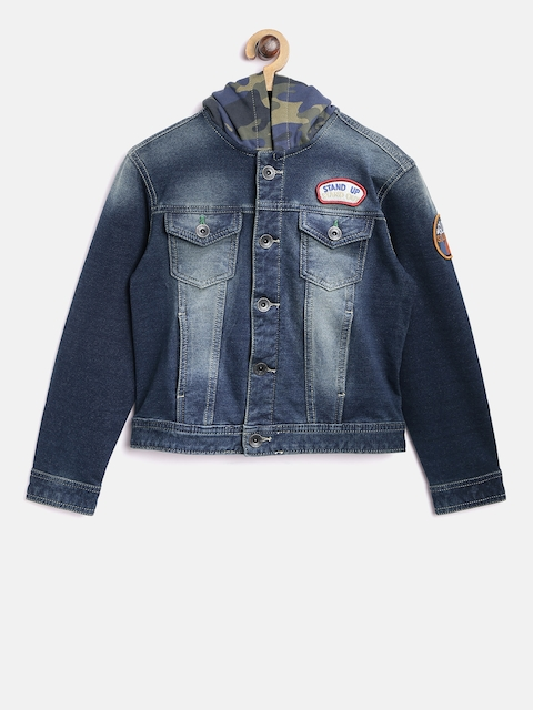 United Colors of Benetton Boys Blue Solid Hooded Denim Jacket