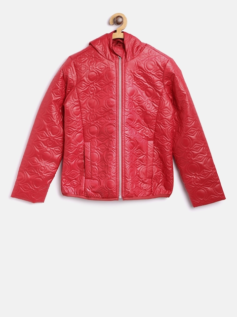 United Colors of Benetton Girls Red Self-Design Tailored Jacket