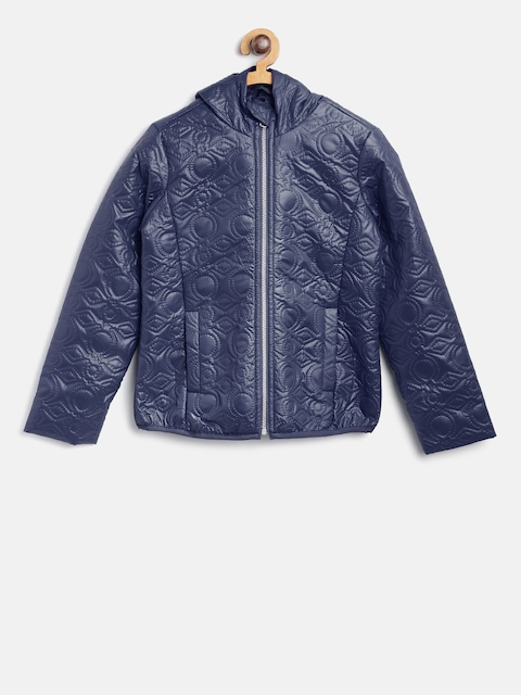 United Colors of Benetton Girls Navy Self Design Tailored Jacket