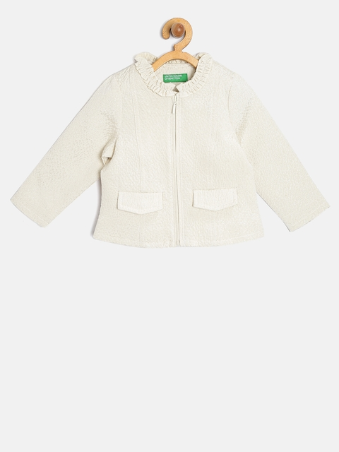 United Colors of Benetton Girls Off-White Self-Design Tailored Jacket