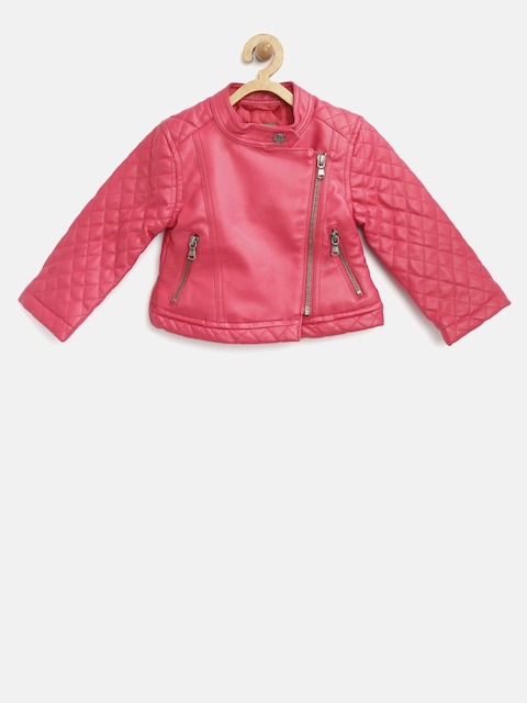 United Colors of Benetton Girls Pink Solid Asymmetric Closure Biker Jacket