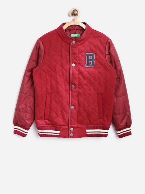 United Colors of Benetton Boys Maroon Solid Bomber Jacket