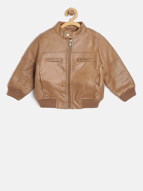 United Colors of Benetton Boys Brown Faux Leather Bomber Jacket