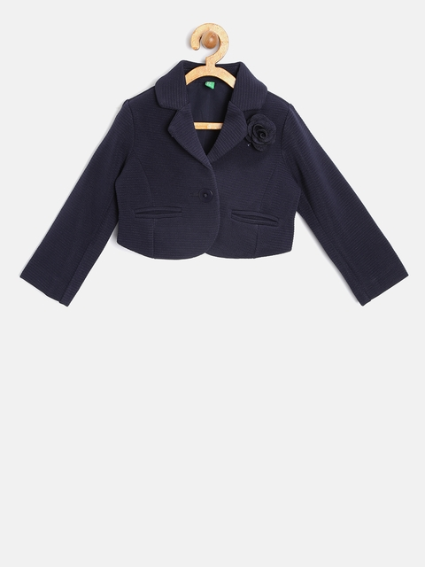 United Colors of Benetton Girls Navy Self-Striped Single-Breasted Blazer