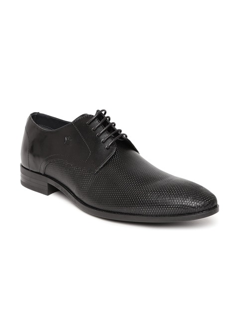 Louis Philippe Men Black Genuine Leather Textured Formal Derbys