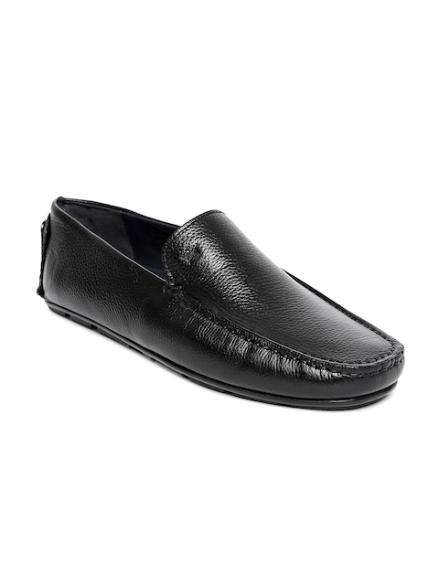 Louis Philippe Men Black Leather Semiformal Slip-Ons