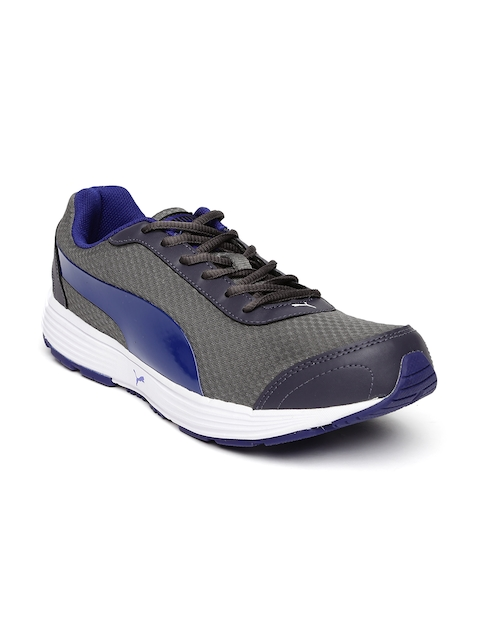 Puma Men Charcoal Grey & Blue Reef Running Shoes  available at myntra for Rs.1499