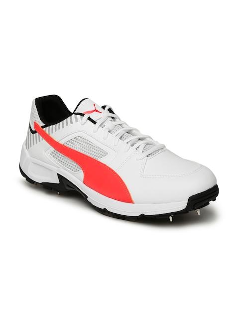Puma Men White Team Full Spike Cricket Shoes