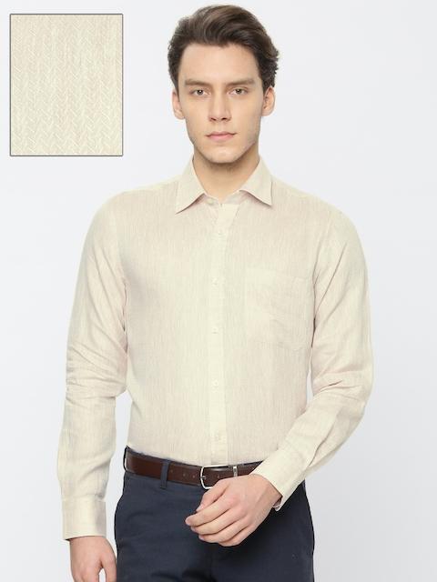 Raymond Men Beige Linen Contemporary Regular Fit Self Design Formal Shirt