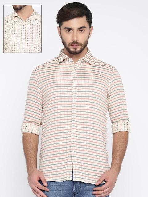 Parx Men Beige & Red Slim Fit Reversible Striped Casual Shirt