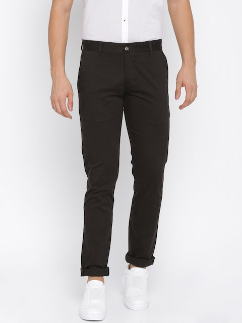 Parx Men Coffee Brown Tapered Fit Solid Regular Trousers  available at myntra for Rs.679