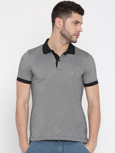 Van Heusen Men Black Self Design Polo Collar T-shirt