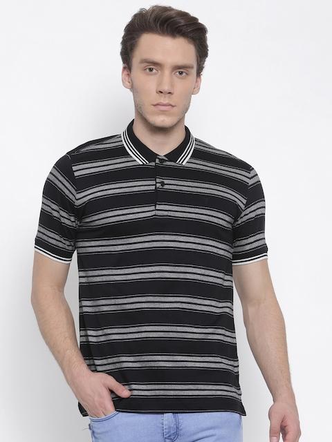 Van Heusen Men Black Striped Polo Collar T-shirt