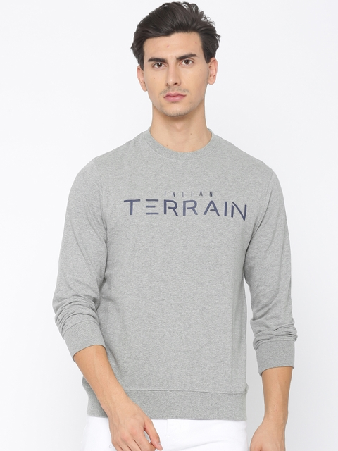 Indian Terrain Men Grey Melange Printed Sweatshirt