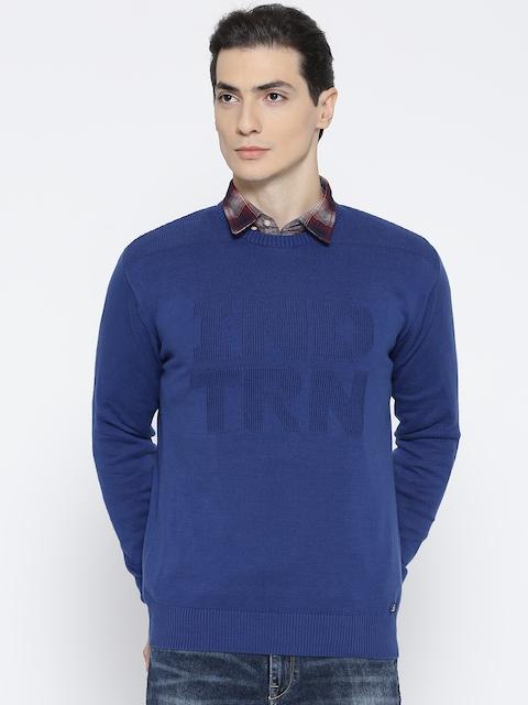 Indian Terrain Men Blue Self Design Sweater