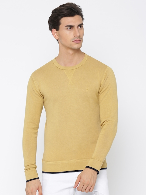 Indian Terrain Men Mustard Solid Pullover
