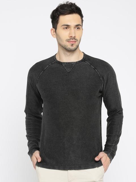 Indian Terrain Men Black Self Design Pullover