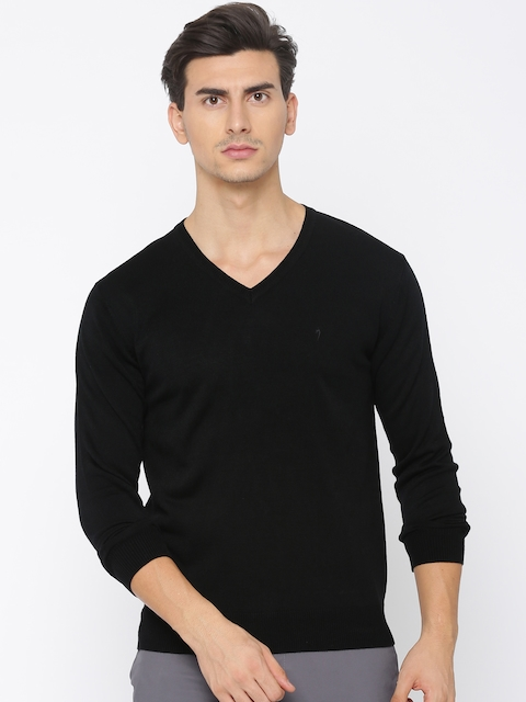 Indian Terrain Men Black Solid Pullover