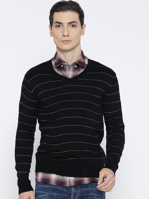 Indian Terrain Men Black Striped Sweater