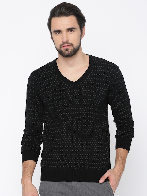 Indian Terrain Men Black Printed Pullover