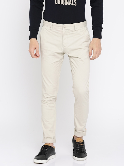 Indian Terrain Men Beige Urban Slim Fit Solid Chinos