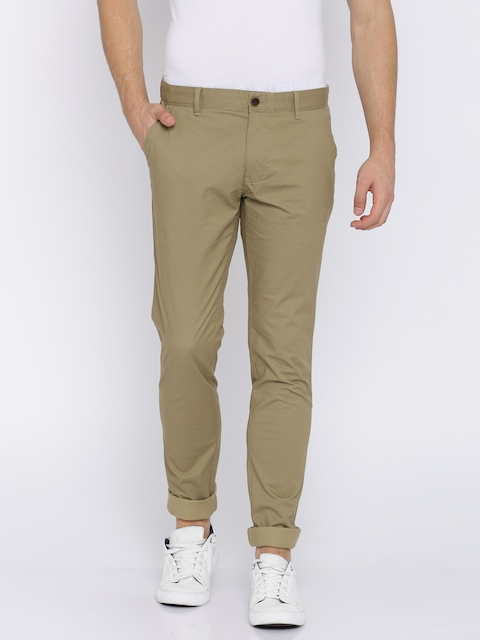 Indian Terrain Men Beige Slim Fit Printed Chinos