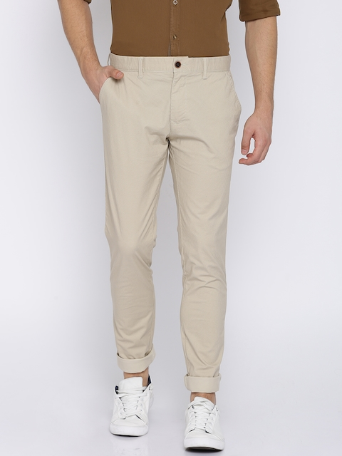 Indian Terrain Men Beige Regular Fit Printed Chinos