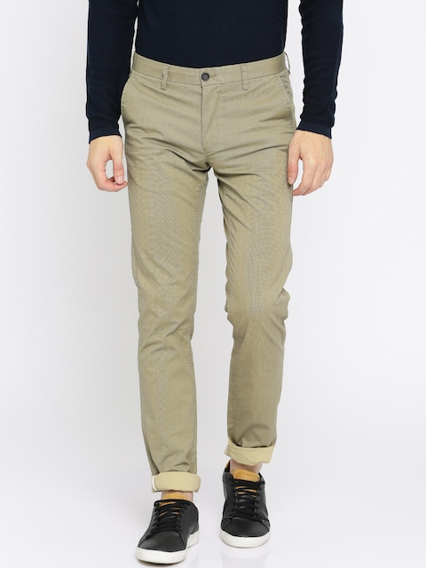 Indian Terrain Men Beige Brooklyn Slim Fit Printed Chinos