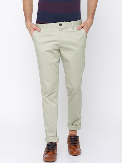 Indian Terrain Men Beige Regular Fit Solid Chinos
