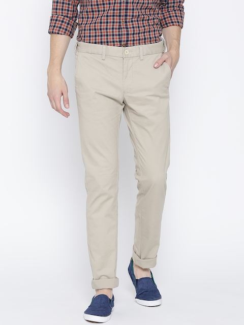 Indian Terrain Men Beige Brooklyn Slim Fit Solid Casual Trousers