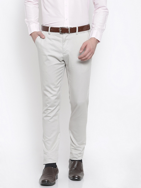 Indian Terrain Men Beige Regular Fit Self Design Chinos