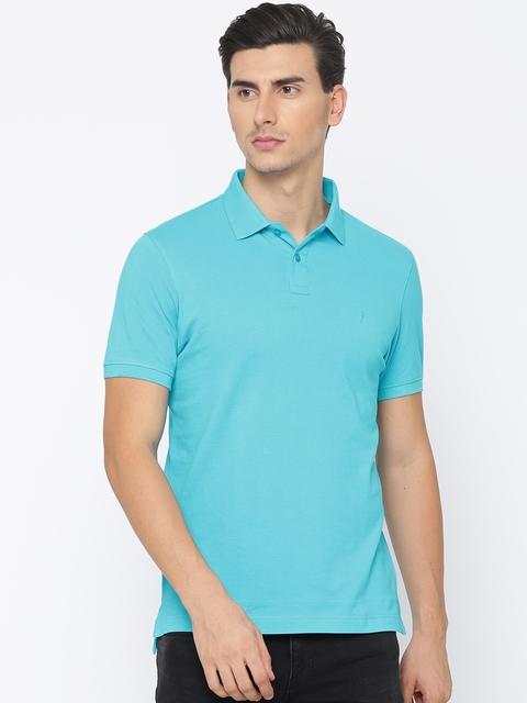 Indian Terrain Men Blue Solid Polo Collar T-shirt