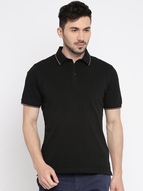 Indian Terrain Men Black Solid Polo Collar T-shirt