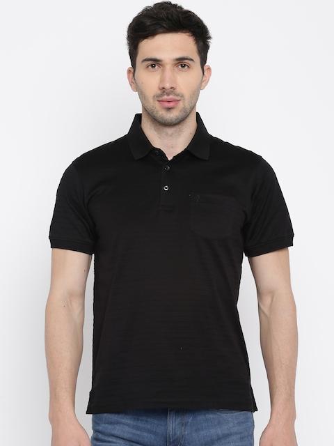 Indian Terrain Men Black Striped Polo Collar T-shirt