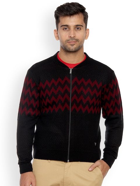 Duke Men Black & Red Self Design Sweater