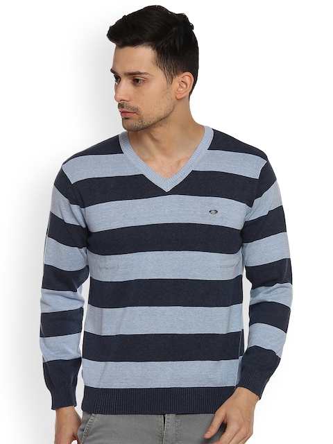 Duke Men Blue Striped Sweater