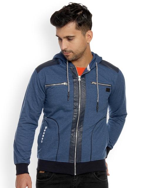 Duke Men Blue Solid Hooded Sweatshirt
