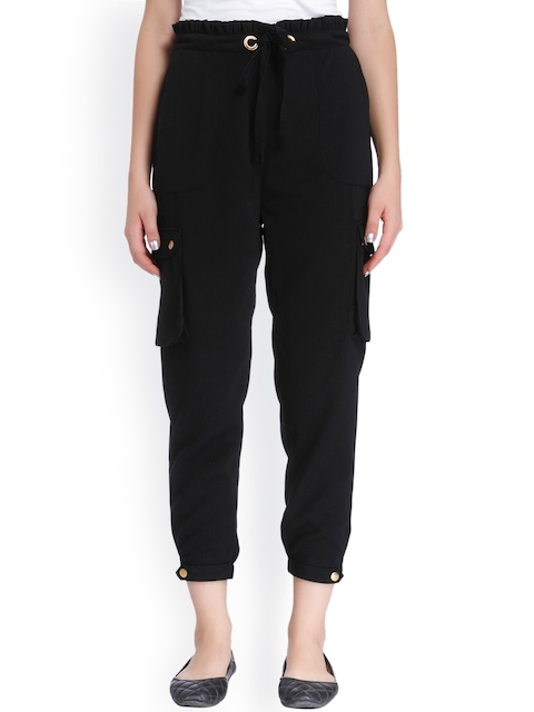 ONLY Women Black Regular Fit Solid Cropped Trousers