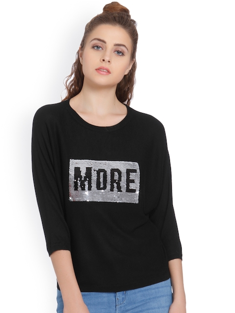 ONLY Women Black Self Design Sweater