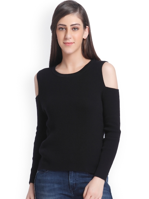 ONLY Women Black Ribbed Pullover