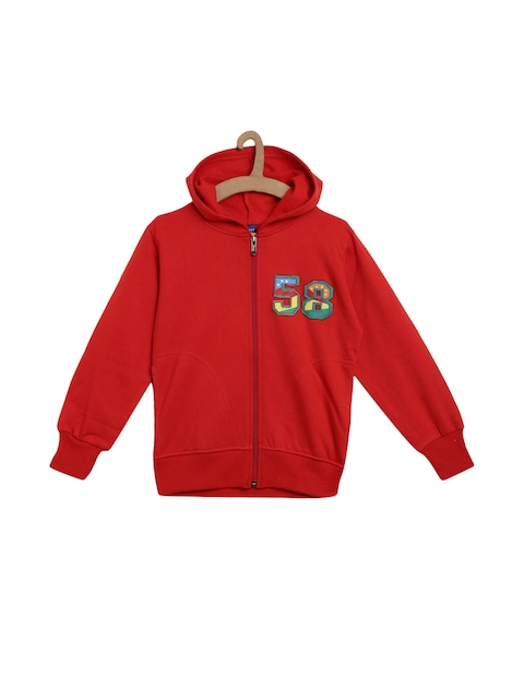 SWEET ANGEL Unisex Red Solid Hooded Sweatshirt