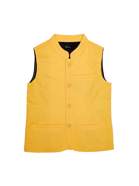 United Colors of Benetton Boys Mustard Waistcoat