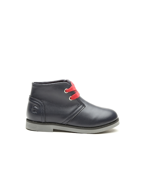 United Colors of Benetton Boys Navy Solid Mid-Top Flat Boots