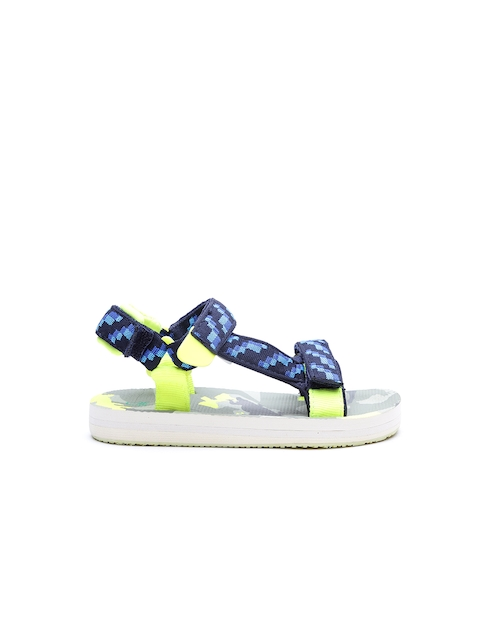 United Colors of Benetton Boys Blue & Black Patterned Comfort Sandals