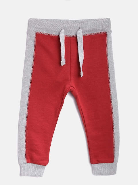 United Colors of Benetton Boys Red & Grey Melange Joggers